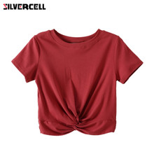 Knot Short Sleeve Crop T Shirt PU27