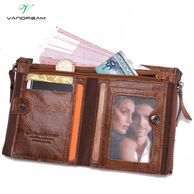 Best Quality 2017 Cowhide Genuine Cowhide Leather Men Wallet Short Coin Purse Small Vintage Wallets Brand Designer Double Zipper 2017 genuine cowhide leather brand women wallet short design lady small coin purse mini clutch cartera high quality