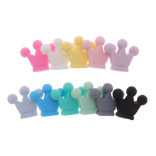 10PC Baby Teether Silicone Crown Beads Bpa Free Infant Teething Necklace Accessories Newborn Pacifier Clips Chain DIY Shower Toy