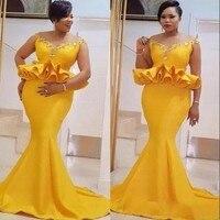 Золотистое вечернее платье, большие размеры, vestido de festa, Длинные вечерние платья, длинные платья русалки Abendkleider Abiye robe de soiree, вечерние платья