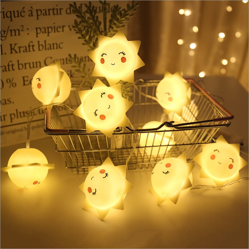 10 LED Light String Sun Smile Unicorn Garlands Battery USB Kid Girl Christmas Light Holiday Party Bedroom Nursery Fairy Lights