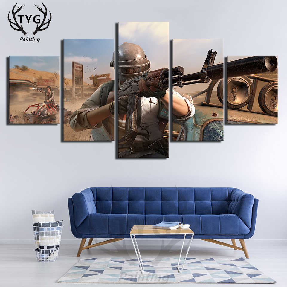PUBG Eat chicken Figure Group Photo Games 5 Pieces Pictures Posters Canvas  Paintings Bedroom Frame Wall Painting For Living Room
