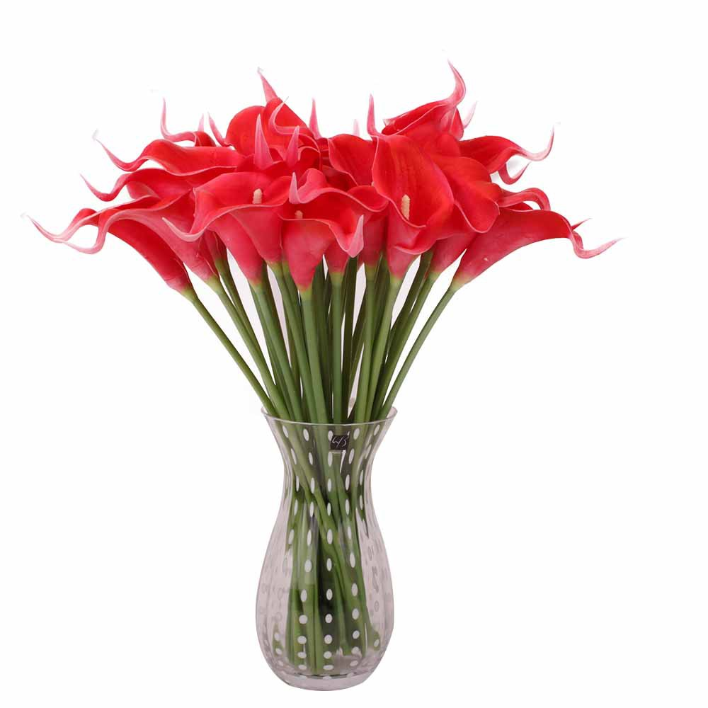 10pcs lot PU Callas Imitation Flower Real Touch Mini Callas Home Restaurant Desk Wedding Decoration Artificial Flower in Artificial Plants from Home Garden