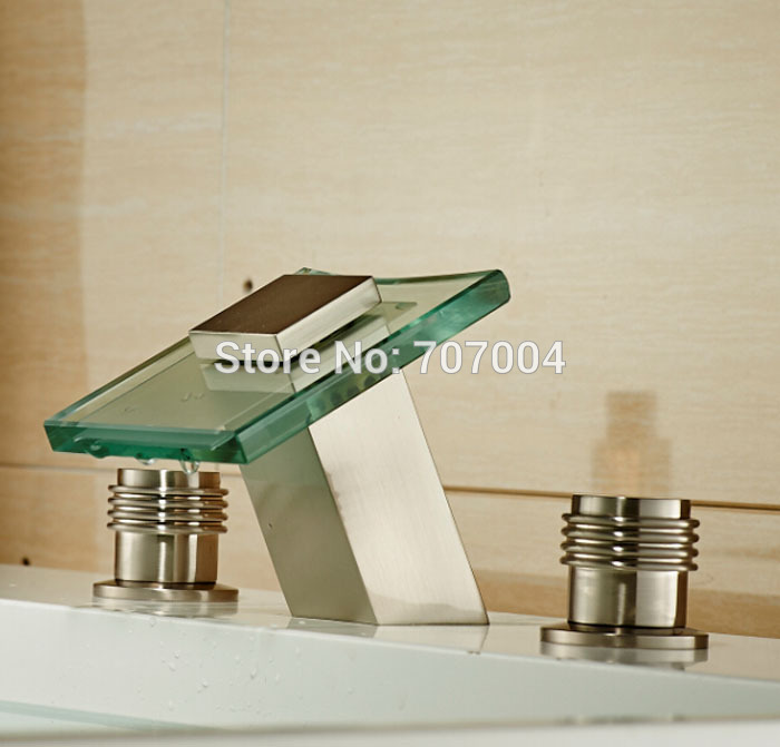 Deck Mount Waterfall Glass Spout Basin Sink Mixer Taps Dual Handles 3pcs Brushed Nickel Finish
