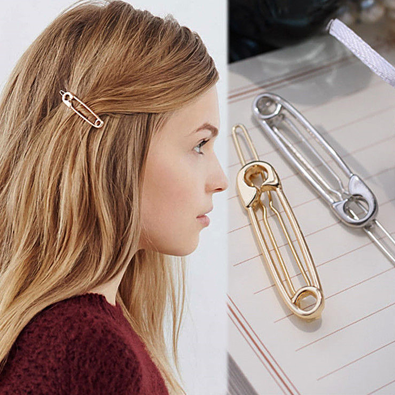 Hot 1 PC Women Fashion Paperclip Hair Clips Girls Metal Minimalist Personality Hairpin Pin Shape Girl Hair Accessories