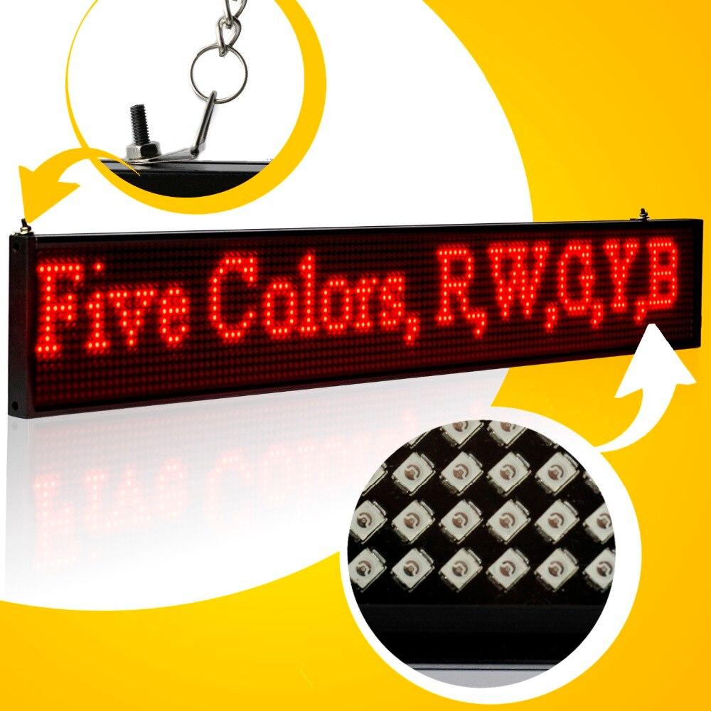 34 cm usb programavel levou assinar smd p5 modulo vermelho verde amarelo azul branco carta rolagem