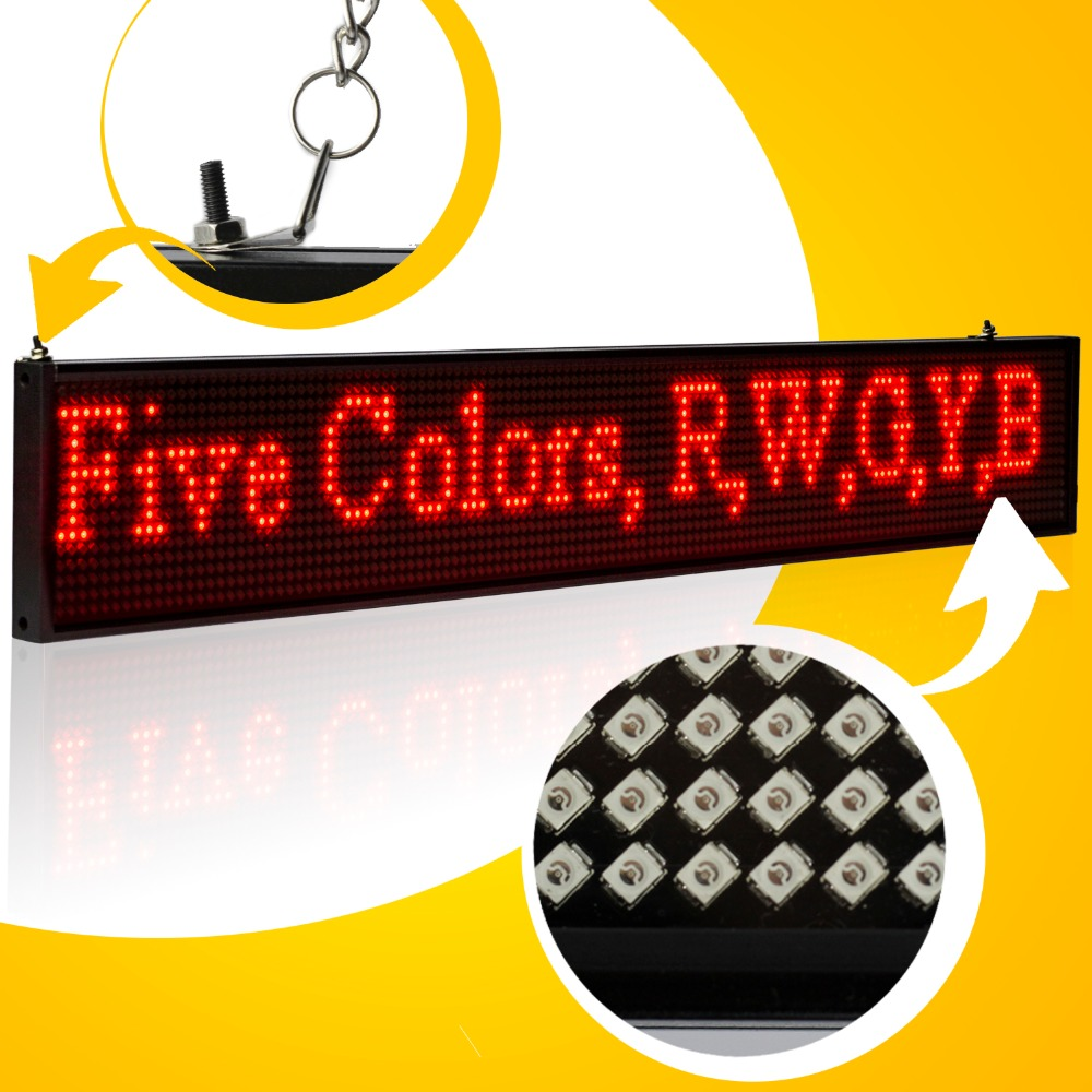 34CM USB Programmable LED Sign SMD P5 Module Red Green Yellow Blue White Letter Scrolling Message Display Board For Business high 8 5 inch red led desktop display board portable rechargeable usb programmable moving message store led business sign board