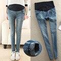 Calças de brim Jeans lavado calças de gravidez para mulheres grávidas leve magro calças Jeans roupas de gravidez