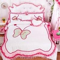 FADFAY 7 adet Kelebek Baskı Yatak Takımları Kraliçe Yatak Set Beyaz Mavi Pembe Ruffles Kızlar Prenses Pamuk Nevresim setleri