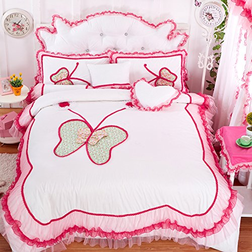 FADFAY 7pcs Butterfly Print Bedding Sets Queen Size Bedding Set White Blue Pink Ruffles Girls Princess Cotton Duvet Cover Sets