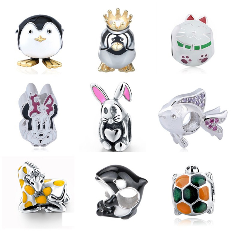 NEW arrival cute animal Beads Fit Original pandora Charms Bracelet 2017 100% 925 Sterling Silver Beads For Jewelry Making gifts