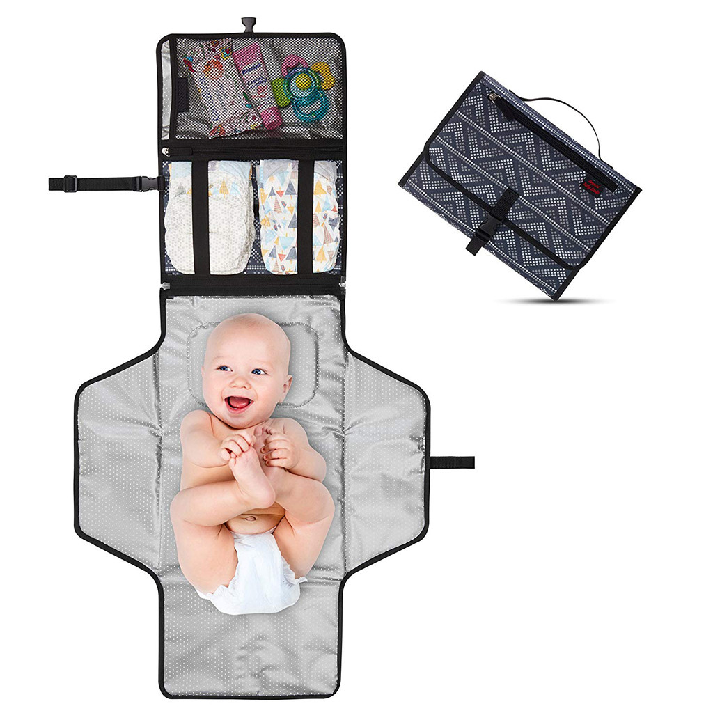 Change-Mat Storage-Bag Nappy Diaper Floor-Mat Foldable Travel Outside Baby Waterproof title=