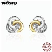 WOSTU Gerçek 925 Ayar Gümüş Birbirine Çevreler Damızlık Küpe Kadınlar Için Lüks Güzel Takı Hediye XCHS511
