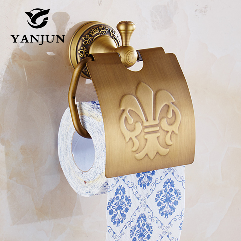 Yanjun  Quality Copper Toilet  Paper Roll Holder With  Flap  Wall Mounted Paper Towel Holder Bathroom Accessories YJ-7957 yanjun toilet anti drop paper jumbo roll holder wall mounted paper towel dispenser bathroom accessories yj 8607