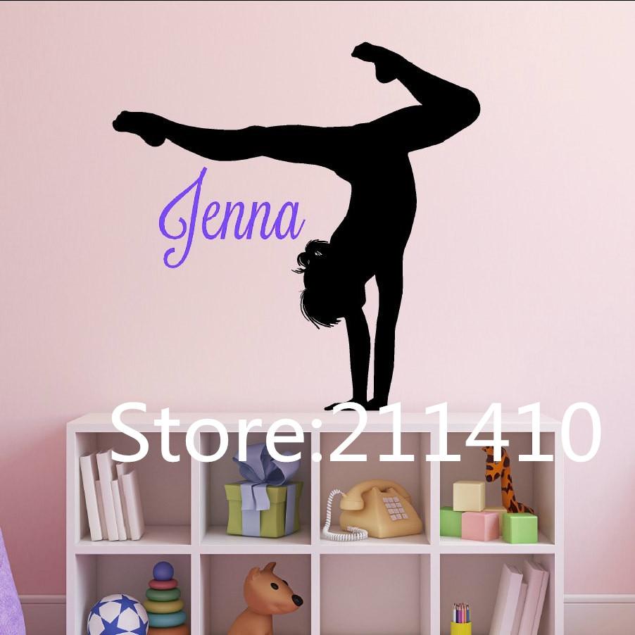 personalized name gymnastics wall stickers gymnastics player wall