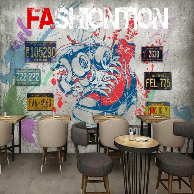 Photo Wallpaper Europe Graffiti License Plate Bar Shoes Background Wall Mural High Quality Living Room