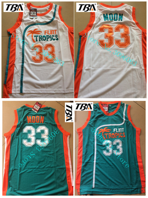 men s  33 Jackie Moon White Blue Stitched Movie jersey  c6809ff9d