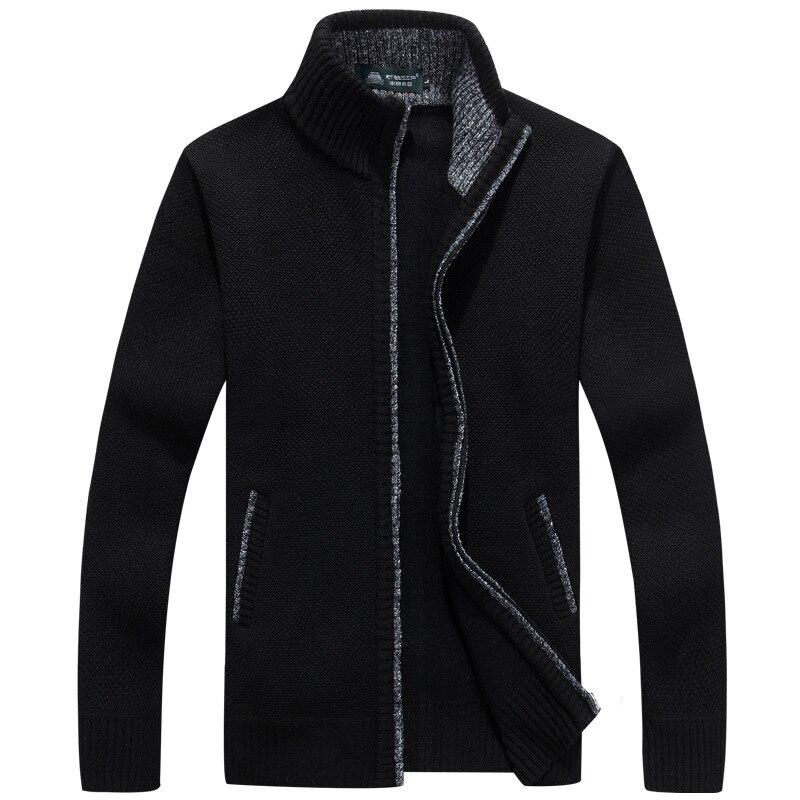 2019 New Sweater Men Autumn Winter SweaterCoats Male Thick Faux Fur Wool Mens Sweater Jackets Casual Zipper Knitwear Size M-3XL 4