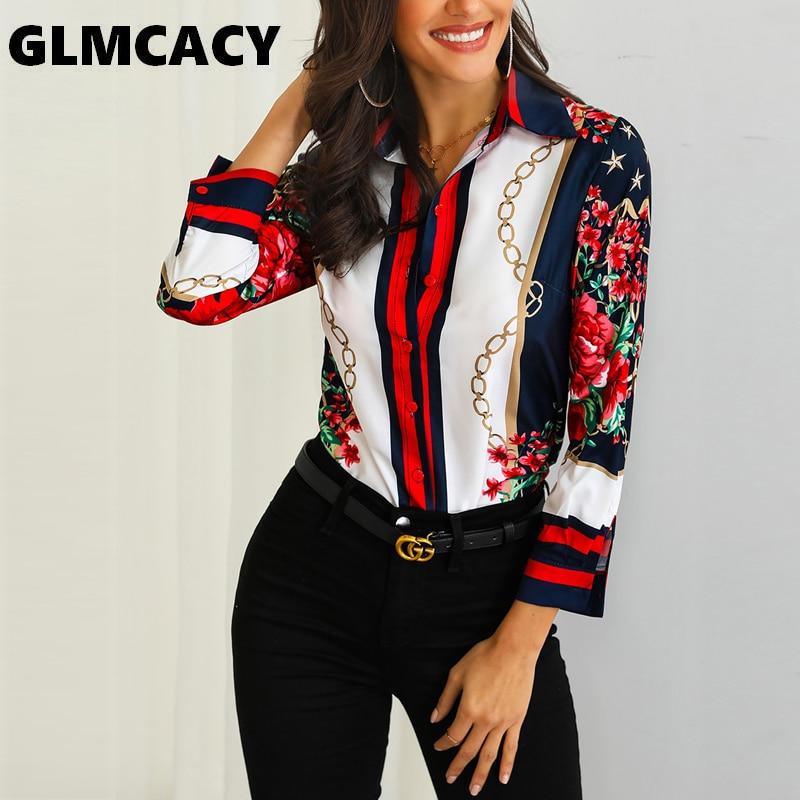 Women Floral & Chains Print Casual Blouse Bohemian Chiffon Turn-down Collar Streetwear Ele