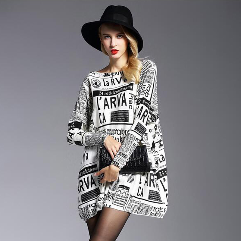 Fashion Womens Baggy Newspaper Print Knit Pullover Onesize Jumper Casual Sweater Womens Knitted Spring Autumn Oversized Sweater