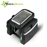 ROCKBROS Bicycle Front Bag Tube Frame Bag Pannier Double Pouch For 5 8 6 2 Inch