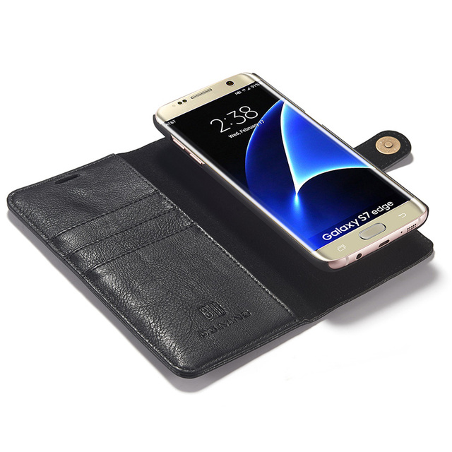 new concept 492ed cbb21 US $11.59 20% OFF|Magnetic Detachable Leather Case For SamSung Galaxy S7  Edge Back Cover Luxury Wallet Flip Genuine Leather Case For Samsung S7-in  ...