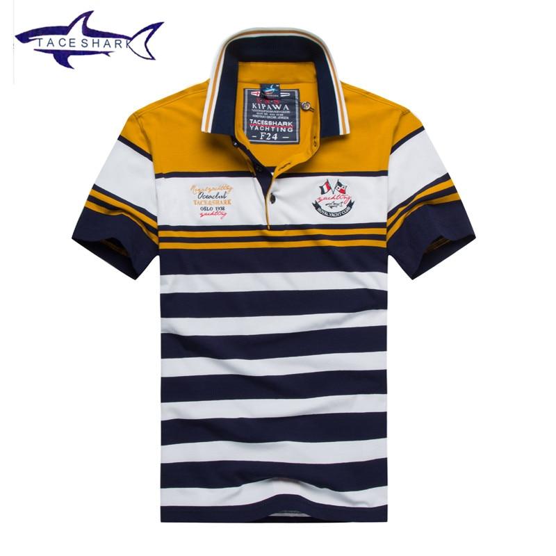 Nova Tace   Shark camisa polo mens marcas de qualidade superior do algodão  manga curta listrada polo homme homem confortável fresco tubarão polo  logotipo em ... 0f07009680468