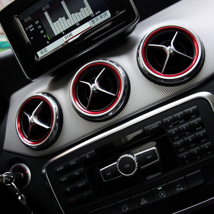 Angelguoguo 10 Sets Aluminium alloy Instrument panel Air outlet decoration ring For Mercedes Benz A B
