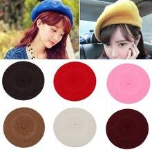 Женские береты на весну, осень, зиму, шапка в стиле художника, женские шерстяные винтажные береты, однотонные кепки, женская шапка, теплая прогулочная шапка