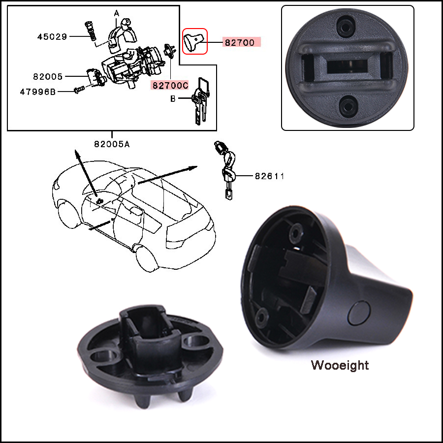 Car Keyless Ignition Start Knob Cap Switch Base 4408A167 4408A031 Fit For Mitsubishi Lancer 2008-2017 For Outlander 2007-2013