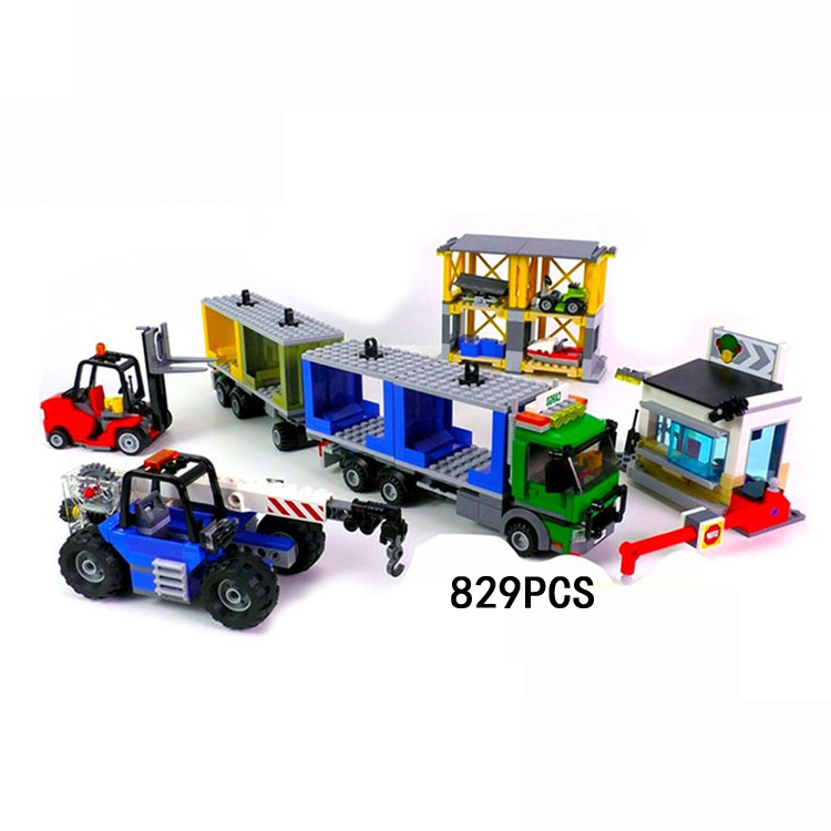 Hot city Freight port building block Porter worker figures Container truck Forklift crane bricks 60169 toys for children gifts hot city series aviation private aircraft lepins building block crew passenger figures airplane cars bricks toys for kids gifts