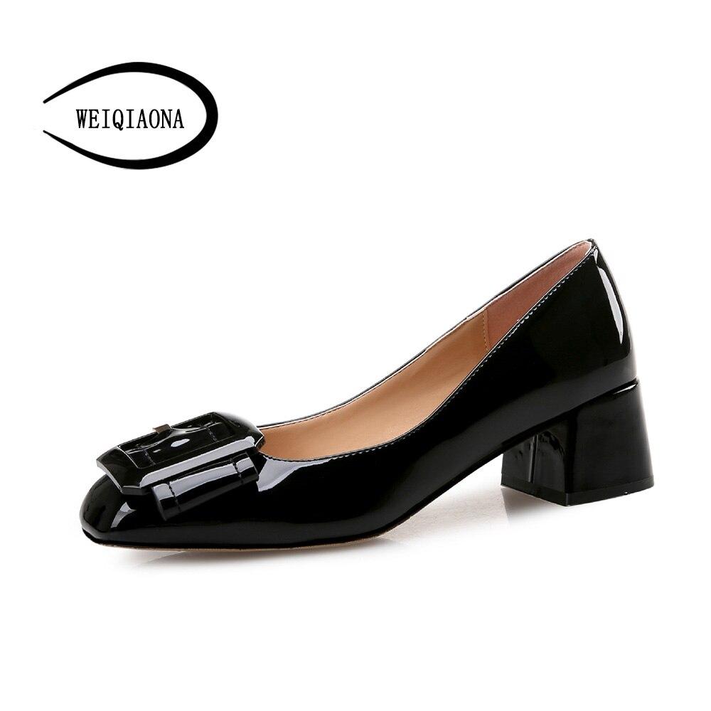 f5745b1a941b26 WEIQIAONA 34-39 Woman Shoes Square Buckle Low Heels Women Pumps Women s  Work shoes Square