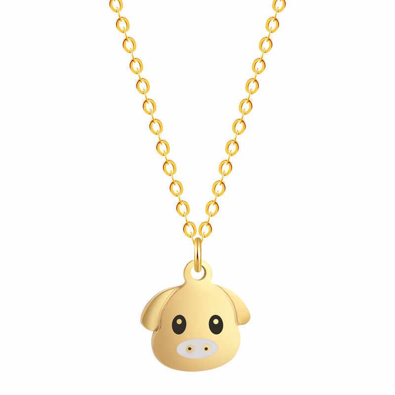 Kinitial ze stali nierdzewnej Piggy Charm naszyjniki dla kobiet mężczyzn moda urocze zwierzę świnia naszyjnik wisiorek biżuteria collares 2019