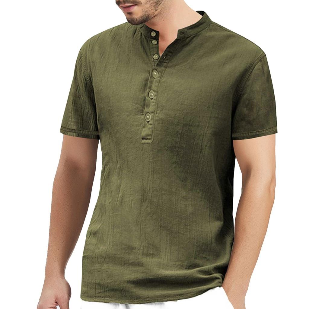 Polo   Shirt Men 2019 Summer Top Brand Clothing Button Camisa   Polos   Masculina Cotton Hemp Short Sleeve Men   Polo   Shirt Comfortable