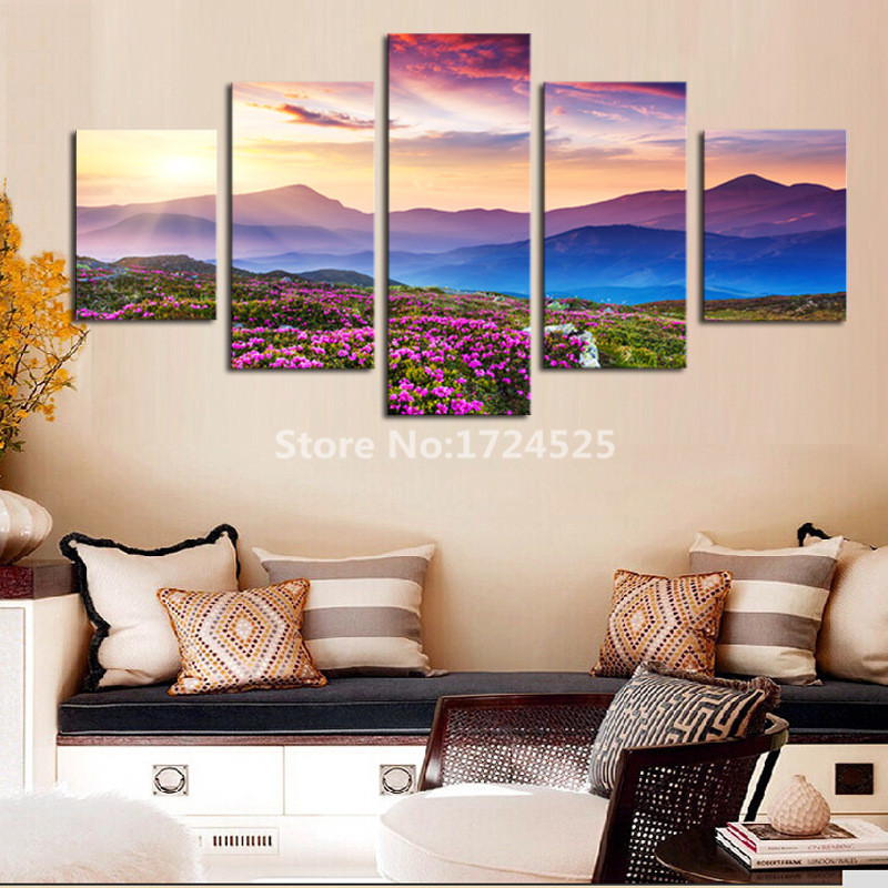 Unframed 5 Pieces Modern Wall Art Canvas Printed Painting Decorative Sunset Mountain Landscape Picture For Home Decor Art Canvas