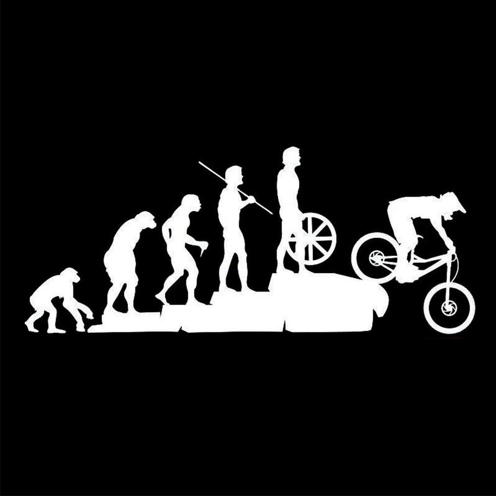 Image 4 - 22.8*9.5CM Interesting Evolution Sticker Bike Mountain Downhill Cartoon Car Stickers Personalized Vinyl Reflective Window Decals-in Car Stickers from Automobiles & Motorcycles