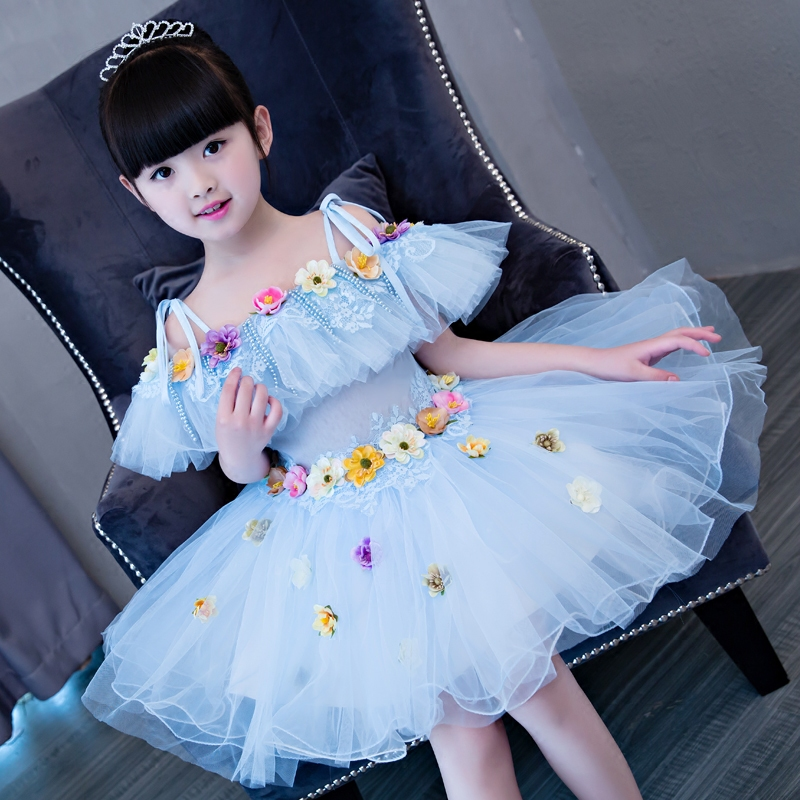 2017New Korean Sweet Baby Girl Princess Blue Flowers Lace Dress Children's Party Shoulderless Dresses Wedding Birthday Clothing ватрушки sweet baby тюбинг sweet baby glider 105 silver blue