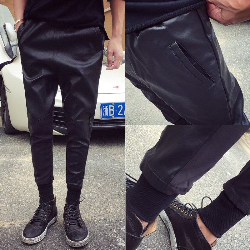 Men PU leather pant spring autumn new street fashion washed leather pants male hiphop punk casual