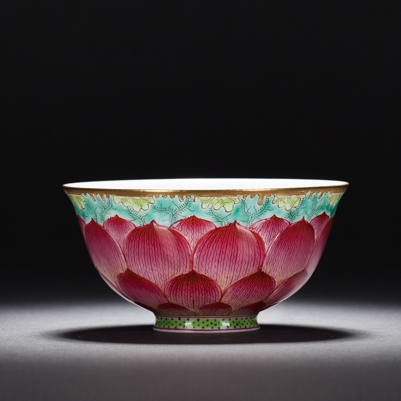 Boutiques Ceramic Art Chinese Famille Rose Porcelain Color Enamel Ceramic Master Cups Lotus Petals Bowl Kung Fu Tea Set Teacup
