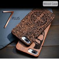 For IPhone 7 Plus 5 5 Real Wood Case Engraved Genuine Handmade 100 Natural Wooden Bamboo