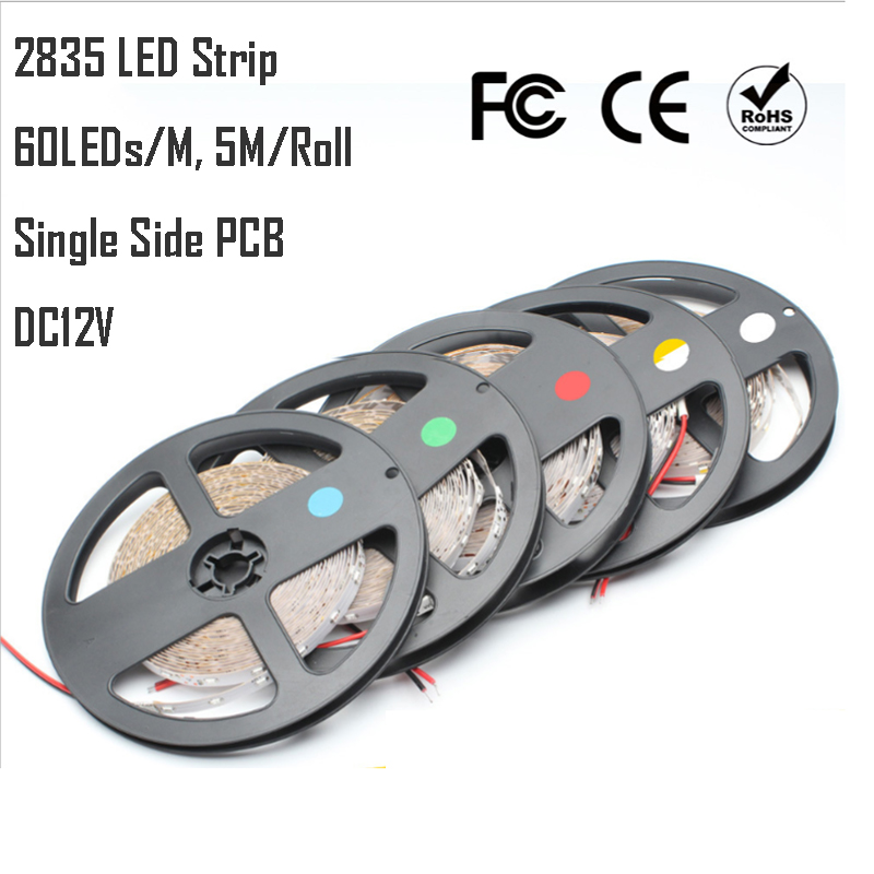 2835 LED strip LED Tape 60LEDs/M IP20 non-wateproof/IP65 waterproof version White/Warm white/RGB/R/G/B/G/Y Free Shipping