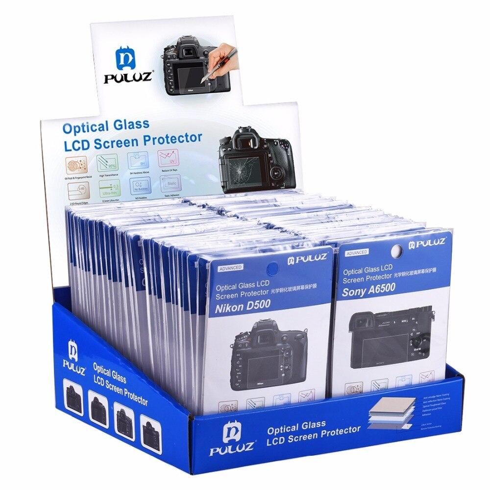 60 pièces PULUZ 2.5D bord incurvé 9 H dureté de Surface en verre trempé Kits de protection d'écran pour Canon, Sony et Nikon