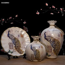 OUSSIRRO  European Ceramic Vase Dried Flowers Flower Arrangement Wobble Plate Living Room Entrance Ornaments Home Decorations