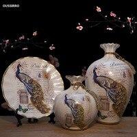 OUSSIRRO European ceramic vase dried flowers flower arrangement wobble plate living room entrance ornaments home decorations