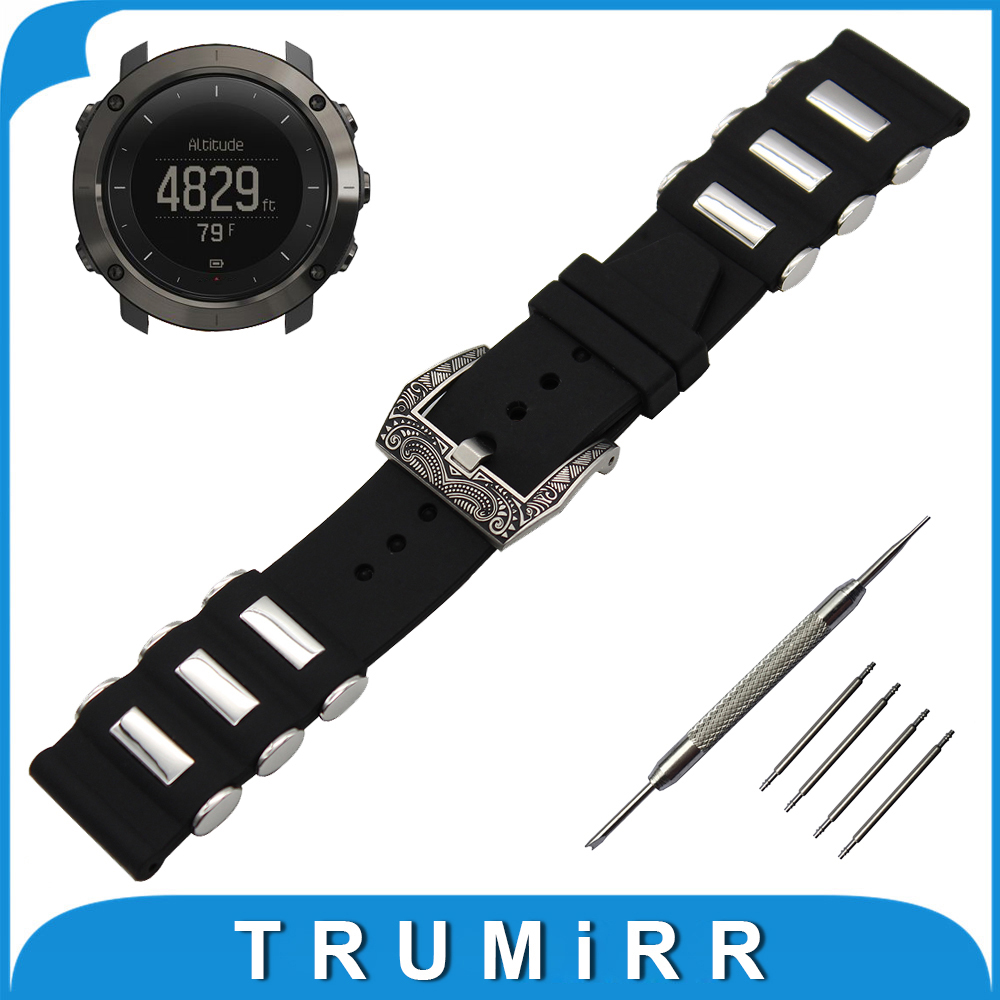 24mm Silicone Rubber Watch Band + Tool for Suunto TRAVERSE Stainless Steel Carved Pre-v Buckle Strap Wrist Belt Bracelet Black