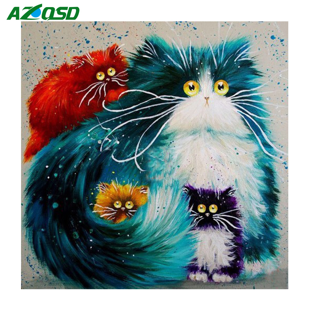 AZQSD Hot Trendy Cat Square Diamond Mosaic Craft Needlework Diamond Painting DIY Diamond Embroidery Cartoon Home Decor
