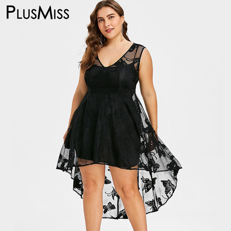 Detail Feedback Questions about PlusMiss Plus Size 5XL Sexy Vintage Sheer  Lace High Low Midi Dress Women Big Size Butterfly Print Tank Party Dresses  Summer ... f9eb57956b77