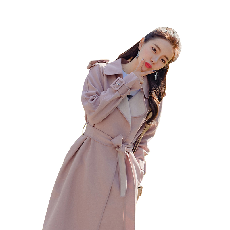 b5334b78cfd Spring Long Coats 2019 New Women s Trench Coat French Elegant Slim Trench  Female Black Coat With Belt Casual Pink Trench Outwear