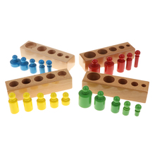 Set of 4 Montessori Teaching Wooden 20pcs Knobbed Cylinders Socket Blocks  Educational Toy