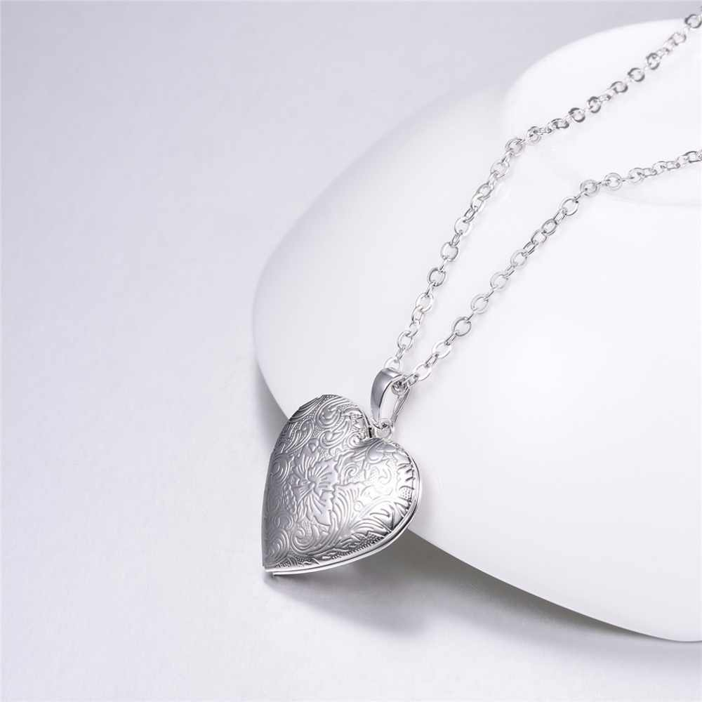 ... U7 Necklaces Flower Locket Heart Pendant   Chain Gold Silver Color 2018  Valentine s Day Lover ... c887573610b9